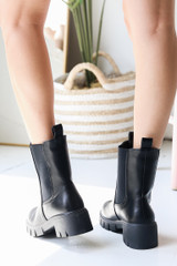 Chelsea Boots in Black Back View