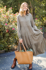 Olive - Model wearing a Tiered Maxi Dress