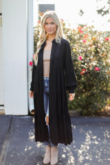 Tiered Maxi Dress in Black Front View