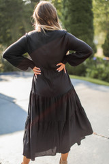 Tiered Maxi Dress in Black Back View