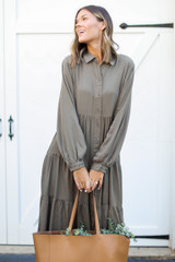 Tiered Maxi Dress in Olive Front View