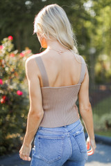 Sweater Tank in Taupe Back View