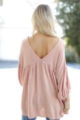 Linen Babydoll Blouse in Blush Back View