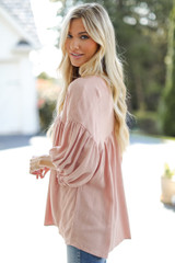 Linen Babydoll Blouse in Blush Side View
