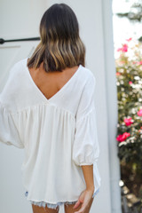 Linen Babydoll Blouse in White Back View