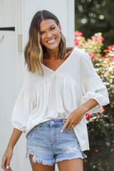 Linen Babydoll Blouse in White Front View