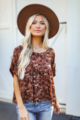 Dress Up model wearing a Floral Babydoll Blouse