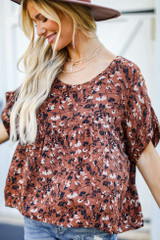 Close Up of a Floral Babydoll Blouse
