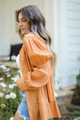 Tunic Blouse in Camel Side View