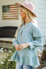 Tunic Blouse in Mint Side View