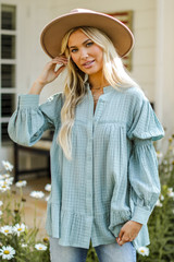Tunic Blouse in Mint Front View