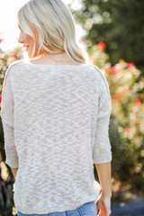 Loose Knit Sweater in Tan Back View
