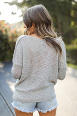 Loose Knit Sweater in Heather Grey Back View