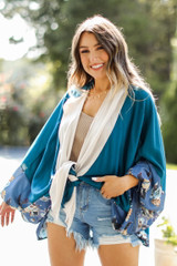 Teal - Dress Up model wearing a Color Block Kimono