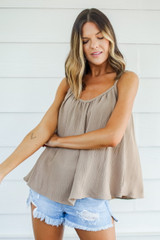 Taupe - Model wearing a Tank with shorts