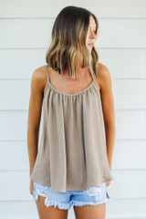Taupe - Dress Up model wearing a Tank with shorts