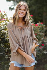 Taupe - Model wearing a Babydoll Blouse