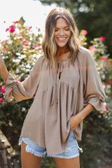 Taupe - Dress Up model wearing a Babydoll Blouse