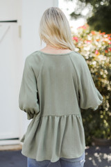 Babydoll Blouse in Olive Back View