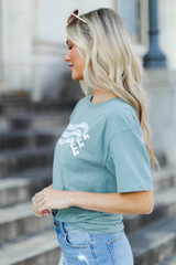 Sage Wavy Yeah That Greenville Tee Side View