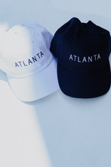 Navy - Flat Lay of two Atlanta Embroidered Hats