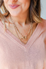 Model wearing a Gold Layered Necklace