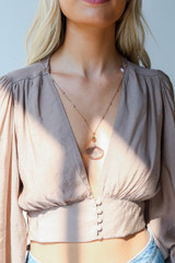 Model wearing a Gold Stone Necklace