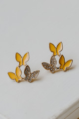 Yellow - Close Up of Butterfly Stud Earrings
