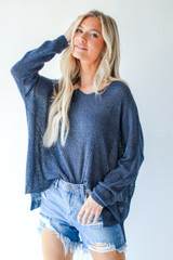 Navy - Loose Knit Sweater from Dress Up