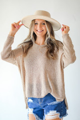 Ivory - Dress Up model wearing a Loose Knit Sweater