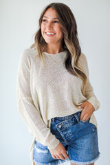 Natural - Loose Knit Sweater Front View