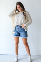 Natural - Loose Knit Sweater Front View on model