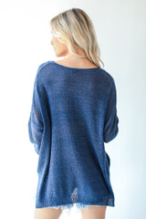 Loose Knit Sweater in Navy Back View