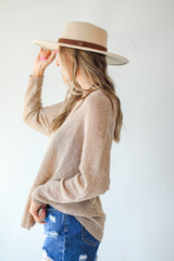 Loose Knit Sweater in Ivory Side View