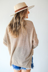 Loose Knit Sweater in Ivory Back View