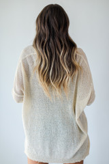 Loose Knit Sweater in Natural Back View