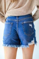Distressed Mom Shorts Back View
