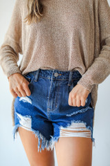 Distressed Mom Shorts Front View
