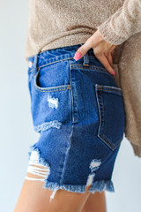 Distressed Mom Shorts Side View