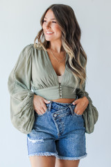 Olive - Model wearing a Cropped Blouse
