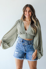 Olive - Dress Up model wearing a Cropped Blouse