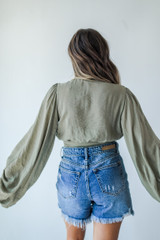 Cropped Blouse in Olive Back View