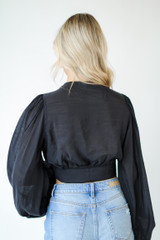 Cropped Blouse in Black Back View