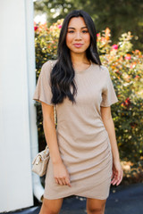 Taupe - Model wearing a Ribbed Dress