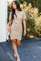 Taupe - Dress Up model wearing a Ribbed Dress