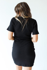 Ribbed Dress in Black Back View