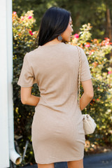 Ribbed Dress in Taupe Back View