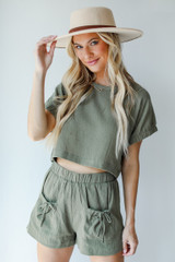 Olive - Linen Shorts from Dress Up
