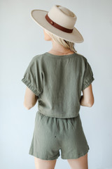 Linen Shorts in Olive Back View
