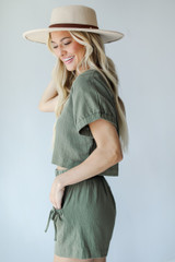 Linen Shorts in Olive Side View